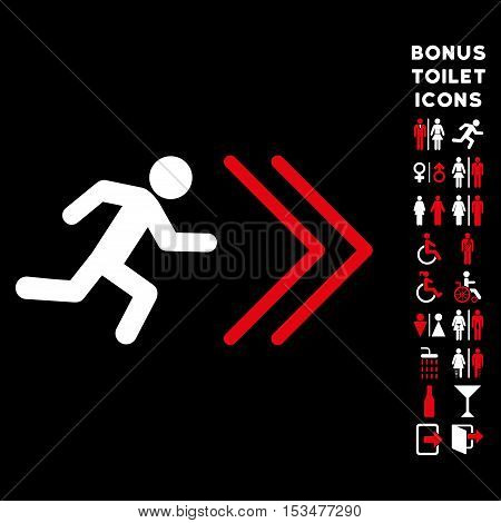 Exit Direction icon and bonus gentleman and lady lavatory symbols. Vector illustration style is flat iconic bicolor symbols, red and white colors, black background.