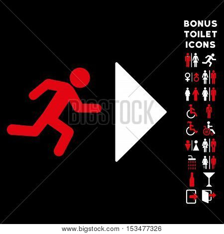 Exit Direction icon and bonus male and woman lavatory symbols. Vector illustration style is flat iconic bicolor symbols, red and white colors, black background.