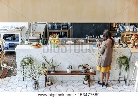 Woman Waiting Rear View Coffee Shop Bar Counter Concept