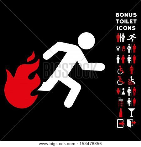 Fired Running Man icon and bonus man and lady restroom symbols. Vector illustration style is flat iconic bicolor symbols, red and white colors, black background.