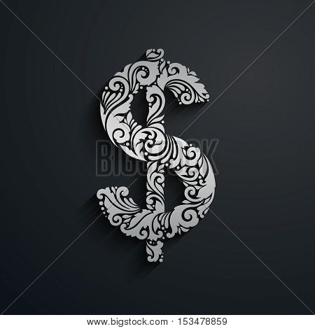 Decorative ornamental silver dollar sign. Vector illustration