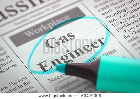 Newspaper with Small Advertising Gas Engineer. Blurred Image. Selective focus. Hiring Concept. 3D Illustration.