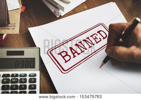 Delayed Banned Denied Stamp Label Mark Concept