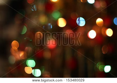 Christmas garland blurred lights of various colors