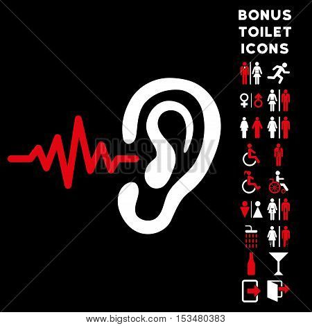 Listen Ear icon and bonus man and lady toilet symbols. Vector illustration style is flat iconic bicolor symbols, red and white colors, black background.