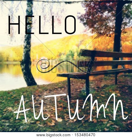 Inspirational Quote With Hello Autumn Text