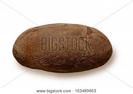 the dark bread from wheat bran on white background