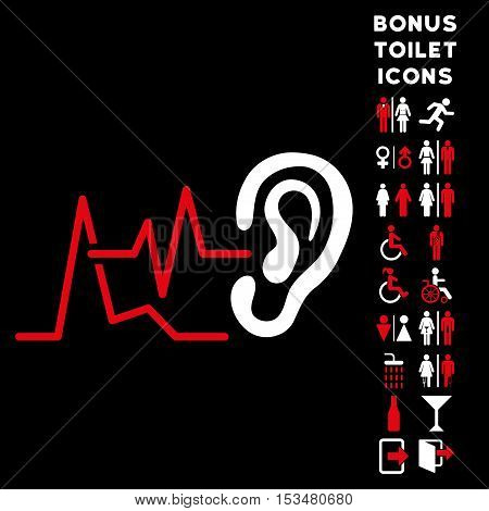 Listen Signals icon and bonus male and female WC symbols. Vector illustration style is flat iconic bicolor symbols, red and white colors, black background.