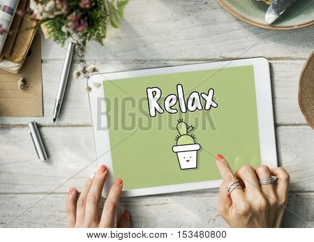 Digital Device Relax graphic Concept