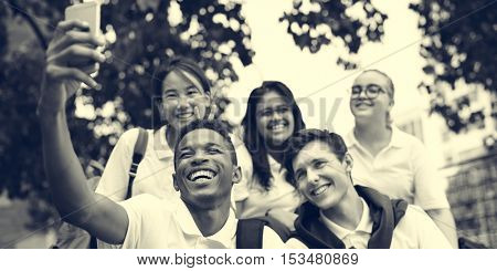 Diversity Students Friends Happiness Concept