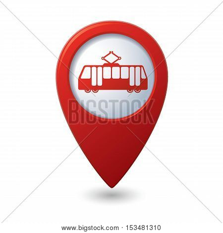 Map pointer with tram icon. Vector illustration