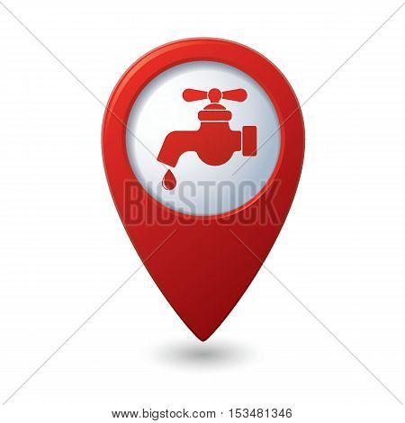 Map pointer with water tap icon. Vector illustration