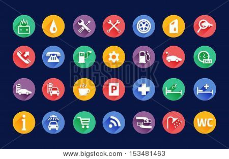 Roadside services transportation black icons vector set