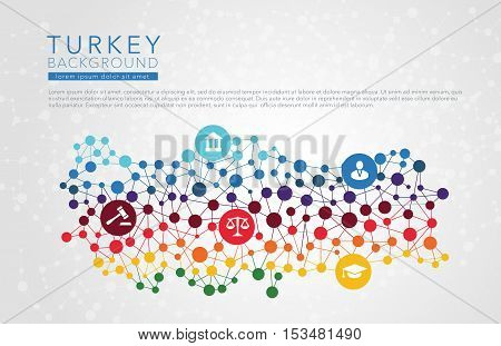 Turkey dotted vector background conceptual infographic report