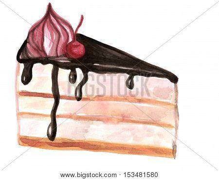 dessert cake watercolor illustration, yummy pie hand drawn illustration
