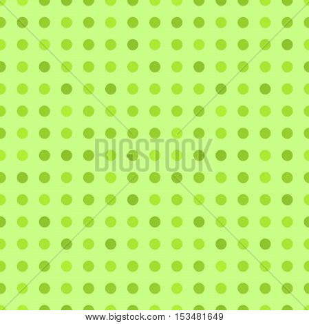 Green polka dot flat background. Vector illustration