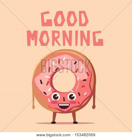 Pink donut character. Cartoon vector illustration. Good morning. Sweet bakery. Vintage style