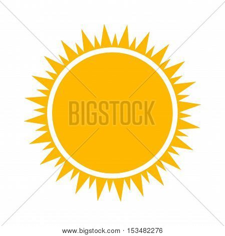 Simple flat design orange sun icon illustration