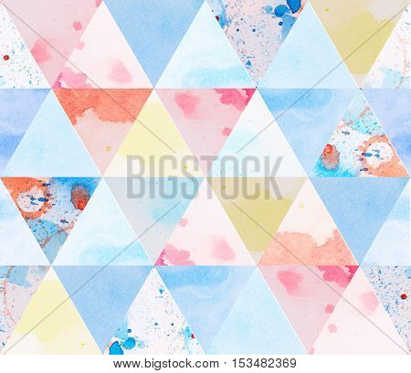 Watercolor abstract geometric sacral polygonal grunge textured art background
