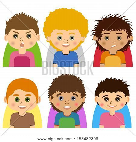 Vector Male man character faces avatars. Set of people icons with faces. Cartoon style faces avatars of man. Isolated vector characters.