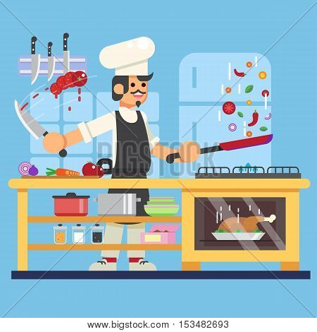 Chef prepares in kitchen Flat Vector illustration. eps10