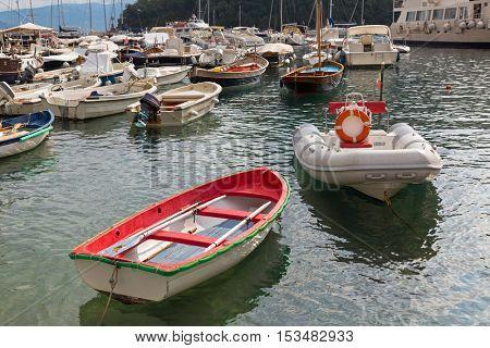 Yacht, fishing boat, sailing boats, cruise ships at Portofino port, Italian fishing village, Genoa province, Italy