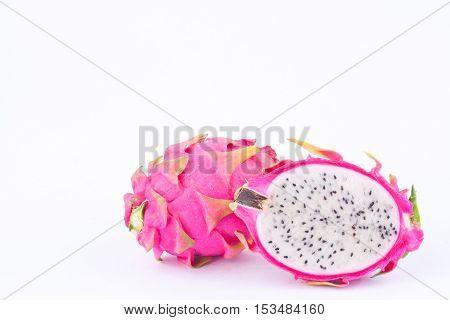 dessert vivid and vibrant dragon fruit (dragonfruit) or pitaya on white background healthy fruit food isolated