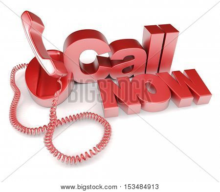 3D rendering of a blue telephone with the words call now