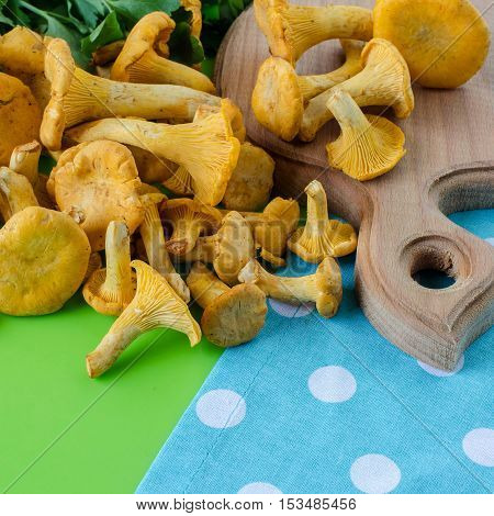Fresh forest mushrooms. Chanterelle mushrooms on a kitchen Board. Cooking.