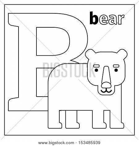 Coloring page or card for kids with English animals zoo alphabet. Bear, letter B vector illustration