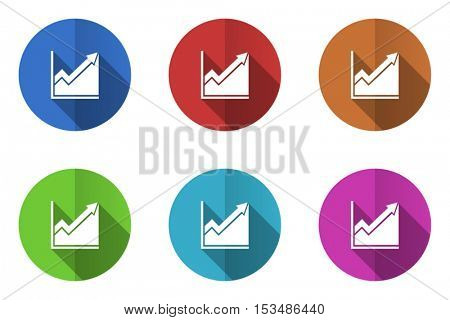 Flat design vector diagram icons. Web and app stock buttons.
