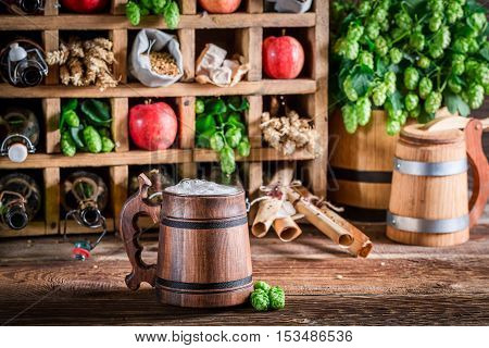 Fresh Beer And Ingredients In Wooden Box