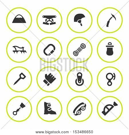 Set round icons of mountaineering isolated on white. Vector illustration