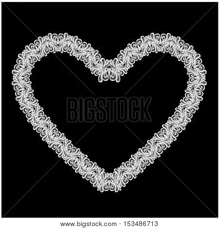 White Heart shape is made of lace doily isolated on black background. Frame element for Holiday Card Valentines Day Wedding invitation.