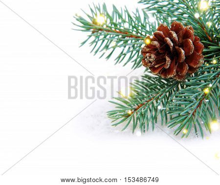 Christmas background with fir tree branch and white snow .Christmas decoration.