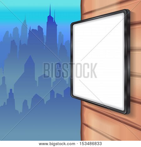 Color vector image mock up on the wall, on the street, on the background of the city skyline. mockup template blank advertising cliché, the panorama of the city.