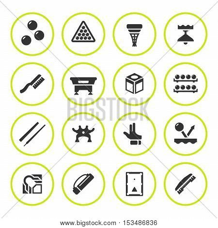 Set round icons of billiards, snooker and pool isolated on white. Vector illustration