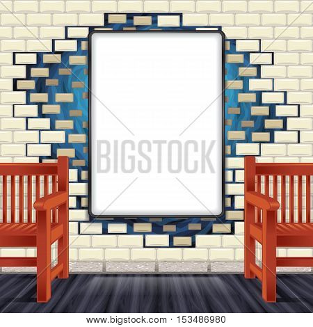 Color vector image mock up against the wall tiles. Red wooden benches. Mock up, mockup, the template blank banner advertisement, brick.