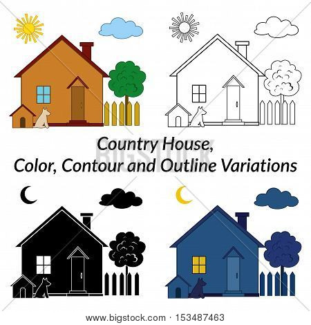 Set of Small Cartoon Country Houses with Dog Kennel and Tree in a Garden, Different Variations, Day, Night, Black and White Contour and Silhouette Isolated on White Background. Vector