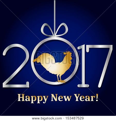 Golden glitter rooster on black background. Chinese calendar for the year of golden rooster 2017. Happy new year 2017. Vector illustration. Design element for festive banner card invitation