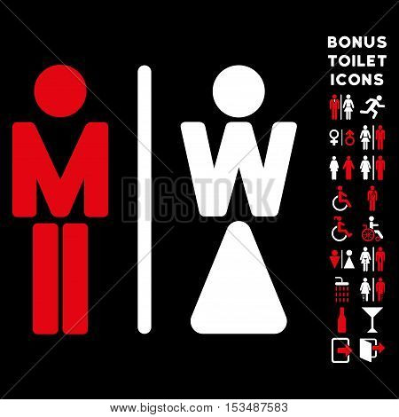 WC Persons icon and bonus male and lady lavatory symbols. Vector illustration style is flat iconic bicolor symbols, red and white colors, black background.