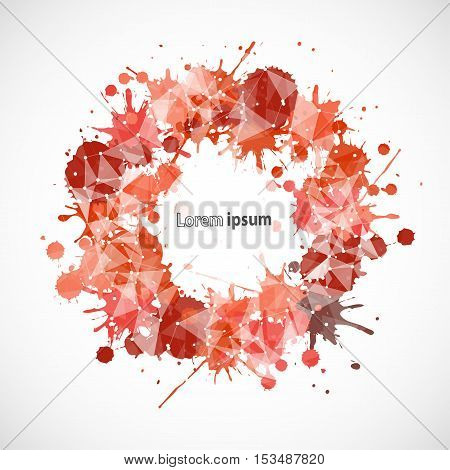 Abstract fall red frame splash poster. Vector background