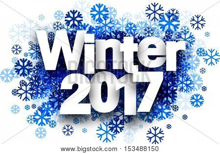 Winter 2017 white background with blue snowflakes. Vector illustration.