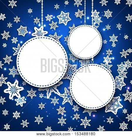 Blue winter round background with snowflakes. Vector illustration.