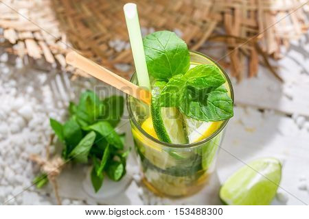 Fresh Drink With Citrus Fruits In The Hot Summer