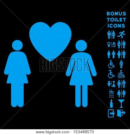 Lesbi Love Pair icon and bonus gentleman and lady WC symbols. Vector illustration style is flat iconic symbols, blue color, black background.