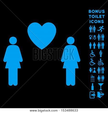 Lesbi Love Pair icon and bonus man and lady toilet symbols. Vector illustration style is flat iconic symbols, blue color, black background.