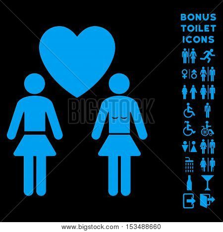 Lesbian Love Pair icon and bonus man and lady WC symbols. Vector illustration style is flat iconic symbols, blue color, black background.