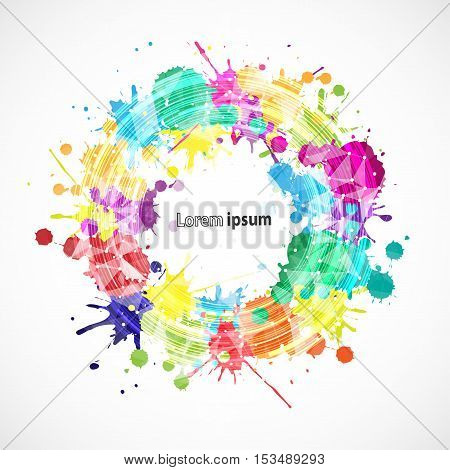 Abstract splash colorful frame poster. Vector background