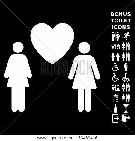 Lesbian Love Pair icon and bonus gentleman and lady toilet symbols. Vector illustration style is flat iconic symbols, white color, black background.